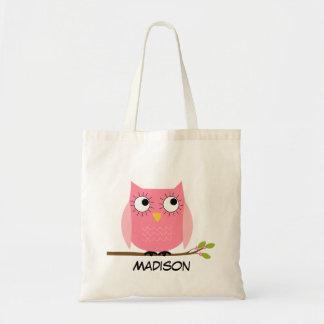 La bolsa de asas rosada personalizada del búho de
