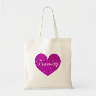 La bolsa de asas rosada personalizada del corazón