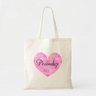 La bolsa de asas rosada personalizada del diseño