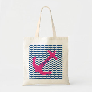 La bolsa de asas rosada personalizada del zigzag