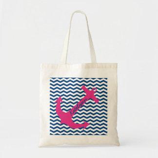 La bolsa de asas rosada personalizada del zigzag d