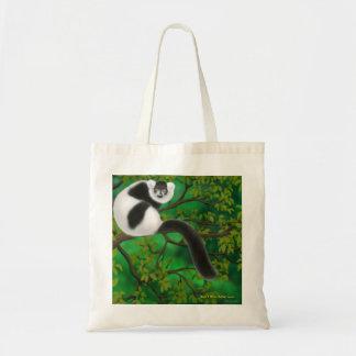 La bolsa de asas superada blanco y negro del Lemur
