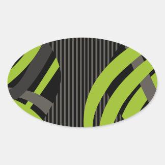 La bolsa de asas verde atada con alambre pegatina ovalada