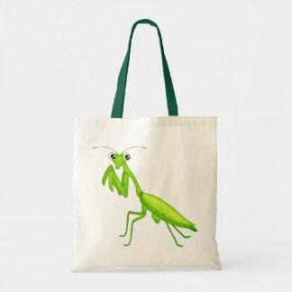 La bolsa de asas verde de la lona de la mantis rel