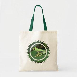 La bolsa de asas verde de la rana arbórea de Red E