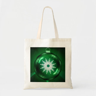 La bolsa de asas verde del copo de nieve del navid