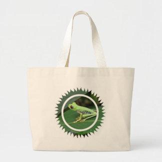 La bolsa de asas verde del jumbo de la rana arbóre