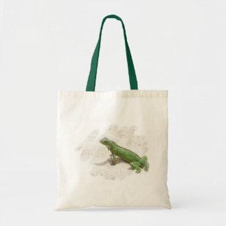 La bolsa de asas verde del lagarto de la iguana