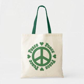 La bolsa de asas verde del signo de la paz
