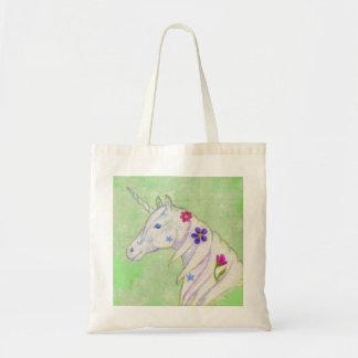 La bolsa de asas verde del unicornio