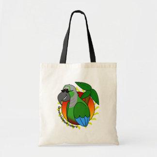 La bolsa de asas verde tropical de Cheeked Conure