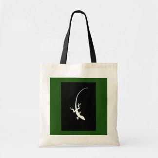La bolsa de asas verde y negra del lagarto