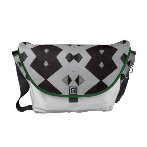 La bolsa de mensajero abstracta negra y blanca bolsas messenger