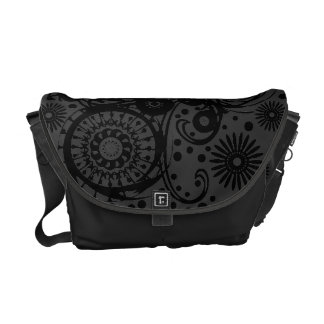 La bolsa de mensajero abstracta negra y gris del bolsa de mensajería