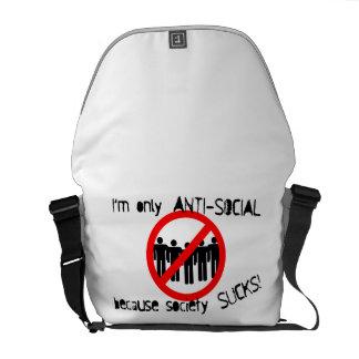 La bolsa de mensajero antisocial del carrito bolsa de mensajería