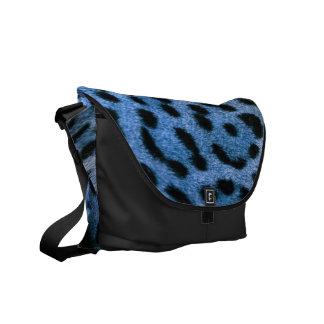 La bolsa de mensajero azul del guepardo bolsas de mensajeria