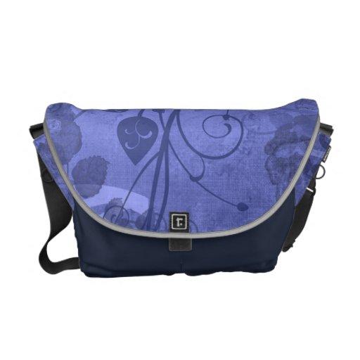 La bolsa de mensajero azul subió acodada vintage bolsas de mensajeria