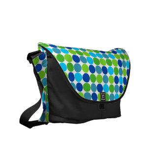 La bolsa de mensajero azulverde de los lunares bolsa de mensajeria