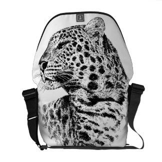 La bolsa de mensajero blanco y negro de la fauna d bolsa de mensajeria