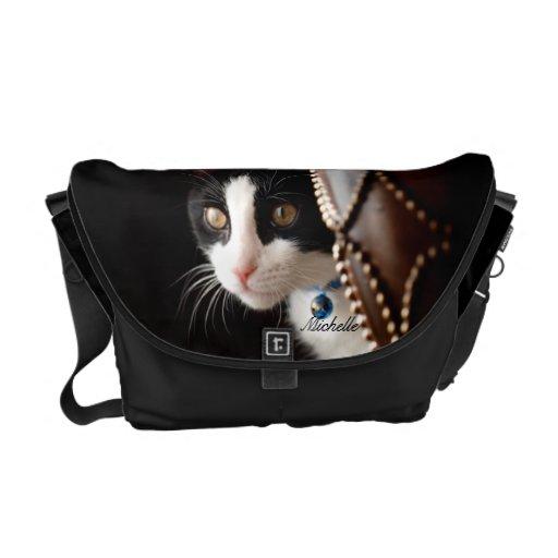 La bolsa de mensajero blanco y negro del gato bolsa messenger