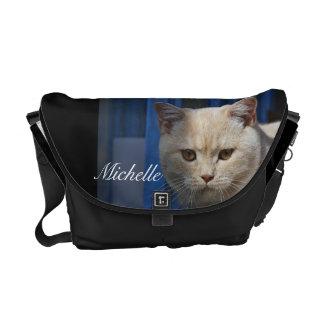 La bolsa de mensajero británica del gato del pelo  bolsa de mensajería