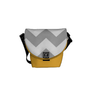 La bolsa de mensajero - Chevron gris con acentos a Bolsa De Mensajeria