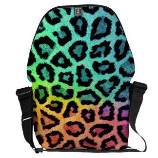 la bolsa de mensajero coloreada arco iris del leop bolsa de mensajeria