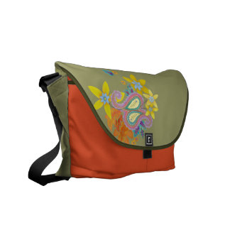 La bolsa de mensajero colorida de la plantilla de  bolsas de mensajería