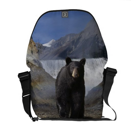 La bolsa de mensajero de la fauna del oso negro de bolsas de mensajería