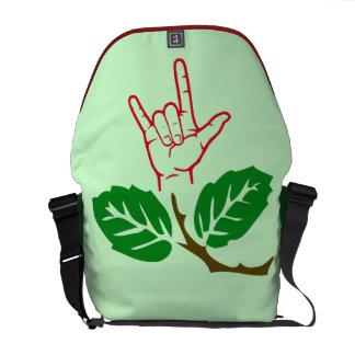 La bolsa de mensajero de la flor del ASL te amo Bolsas De Mensajería