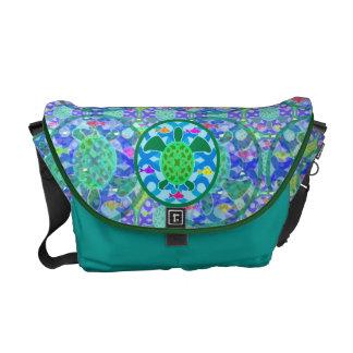 La bolsa de mensajero de la tortuga de mar verde bolsa de mensajeria