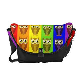 La bolsa de mensajero de los búhos del arco iris bolsas de mensajeria