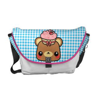 La bolsa de mensajero del bigote del oso de Kawaii Bolsa De Mensajeria