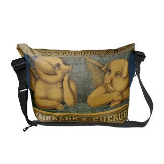 La bolsa de mensajero del cerdo del ángel de la qu bolsa de mensajería