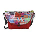 La bolsa de mensajero del collage de la muestra de bolsas de mensajería