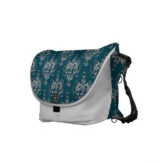 La bolsa de mensajero del damasco del azul prusian bolsas de mensajeria