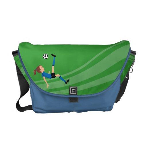 La bolsa de mensajero del fútbol del chica ilustra bolsas de mensajeria
