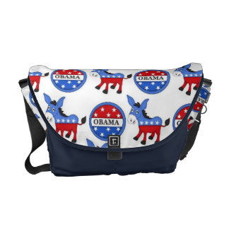 La bolsa de mensajero del símbolo de Obama Demócra Bolsas De Mensajería