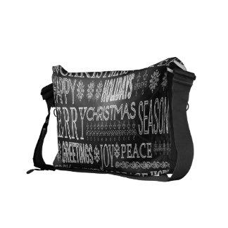 La bolsa de mensajero dibujada tiza del navidad bolsa messenger