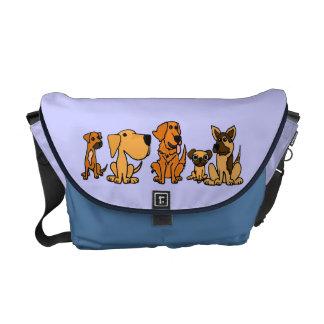 La bolsa de mensajero divertida AJ de los perros d Bolsas Messenger