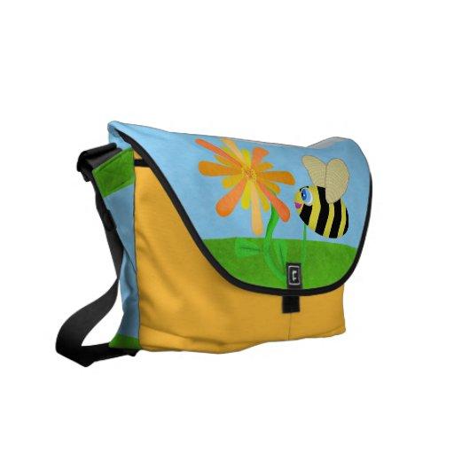 La bolsa de mensajero feliz de la abeja bolsas de mensajería