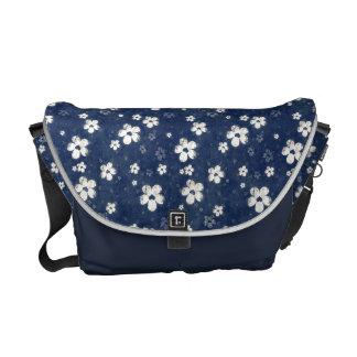 La bolsa de mensajero floral azul descolorada bolsa messenger