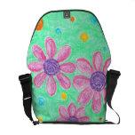 La bolsa de mensajero floral del rosa y del verde bolsas de mensajeria