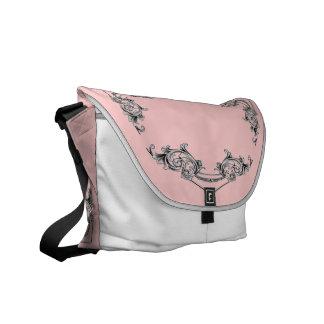 La bolsa de mensajero FLORAL del VINTAGE - rosa de Bolsas De Mensajeria