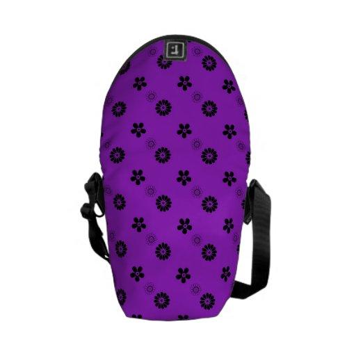 La bolsa de mensajero floral púrpura y negra capri bolsa messenger