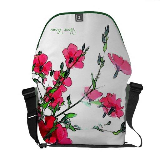 La bolsa de mensajero floral rosada roja bolsas messenger