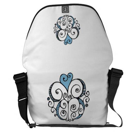 La bolsa de mensajero grande azul del adorno del c bolsa messenger
