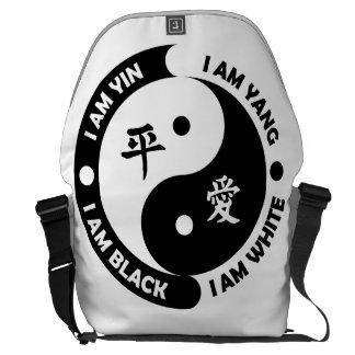 La bolsa de mensajero grande de la paz blanca bolsa de mensajería