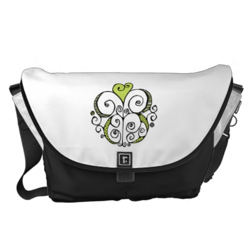 La bolsa de mensajero grande del verde del adorno  bolsas de mensajería
