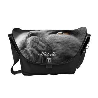 La bolsa de mensajero gris del gato persa bolsas de mensajeria